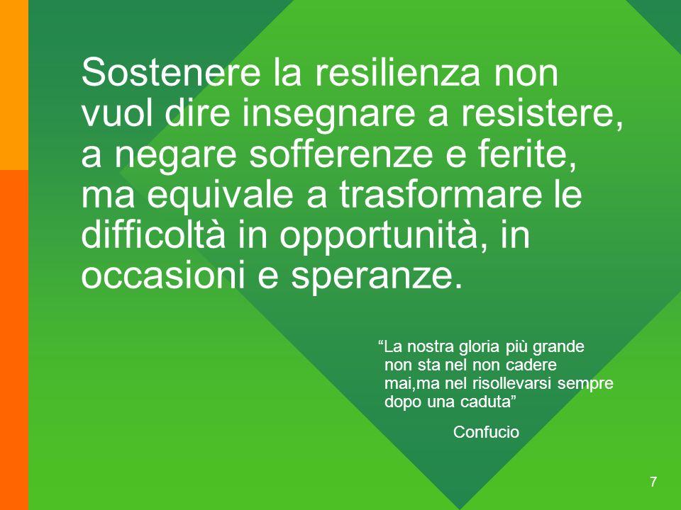 Sostenere la resilienza non vuol dire insegnare a resistere, a negare sofferenze e ferite, ma equivale a trasformare le difficoltà in opportunità, in occasioni e speranze.