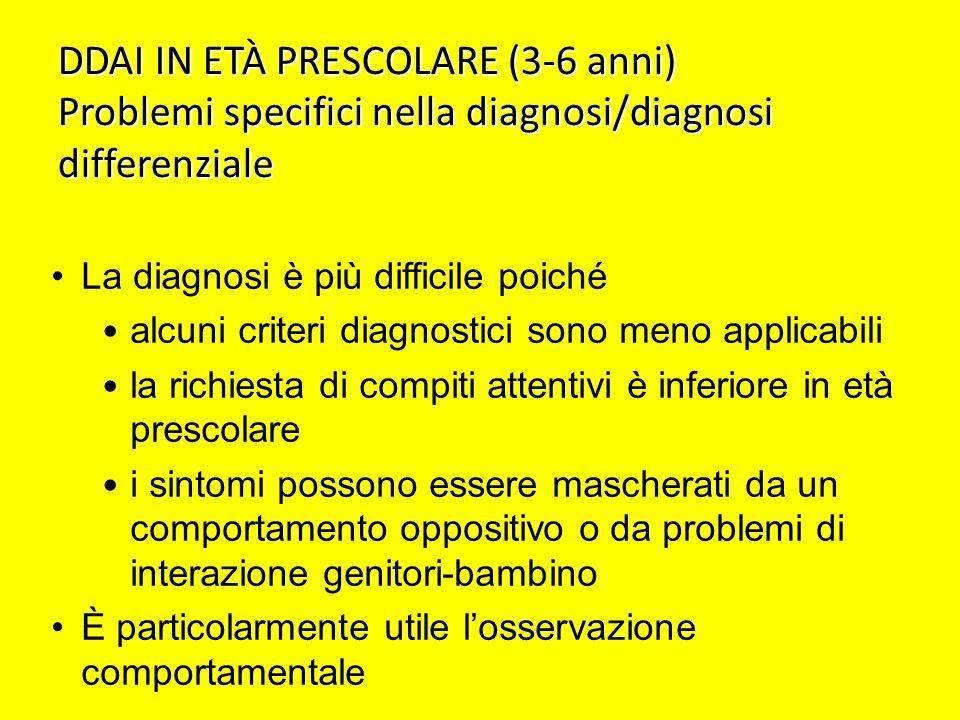 DDAI IN ETÀ PRESCOLARE (3-6 anni) Problemi specifici nella diagnosi/diagnosi differenziale