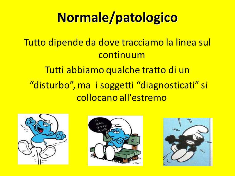 Normale/patologicoTutto dipende da dove tracciamo la linea sul continuum. Tutti abbiamo qualche tratto di un.