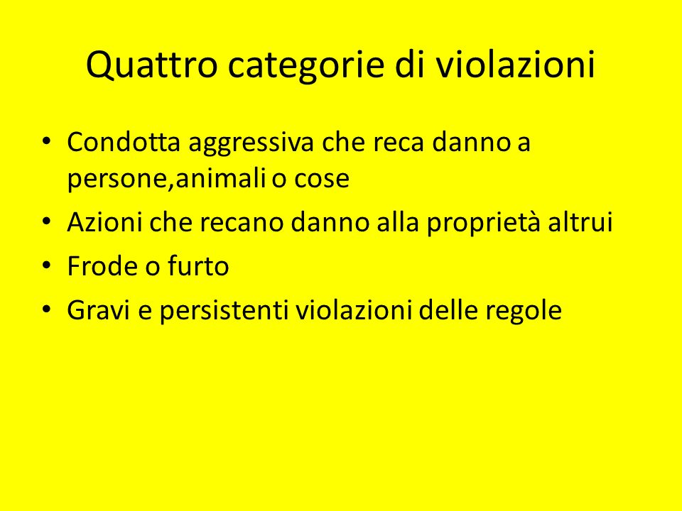 Quattro categorie di violazioni
