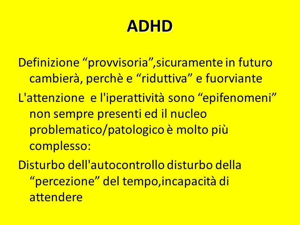 ADHDDefinizione provvisoria ,sicuramente in futuro cambierà, perchè e riduttiva e fuorviante.