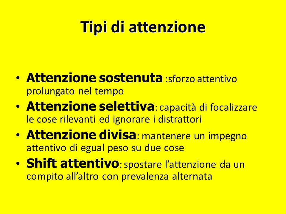 Tipi di attenzione Attenzione sostenuta :sforzo attentivo prolungato nel tempo.
