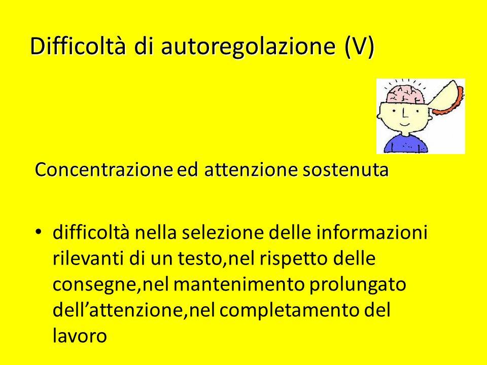 Difficoltà di autoregolazione (V)