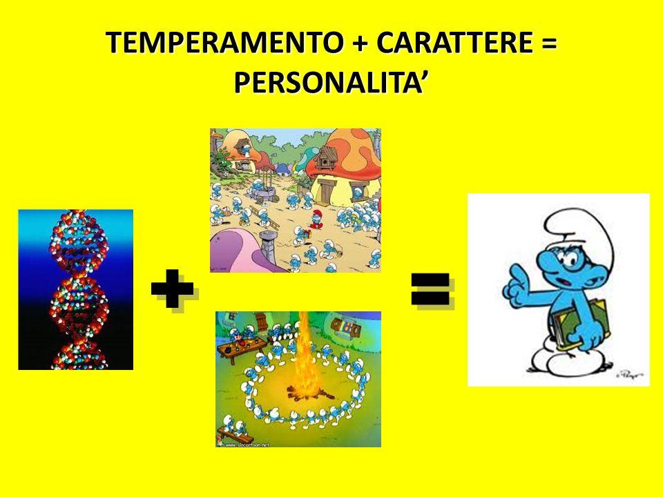 TEMPERAMENTO + CARATTERE = PERSONALITA'