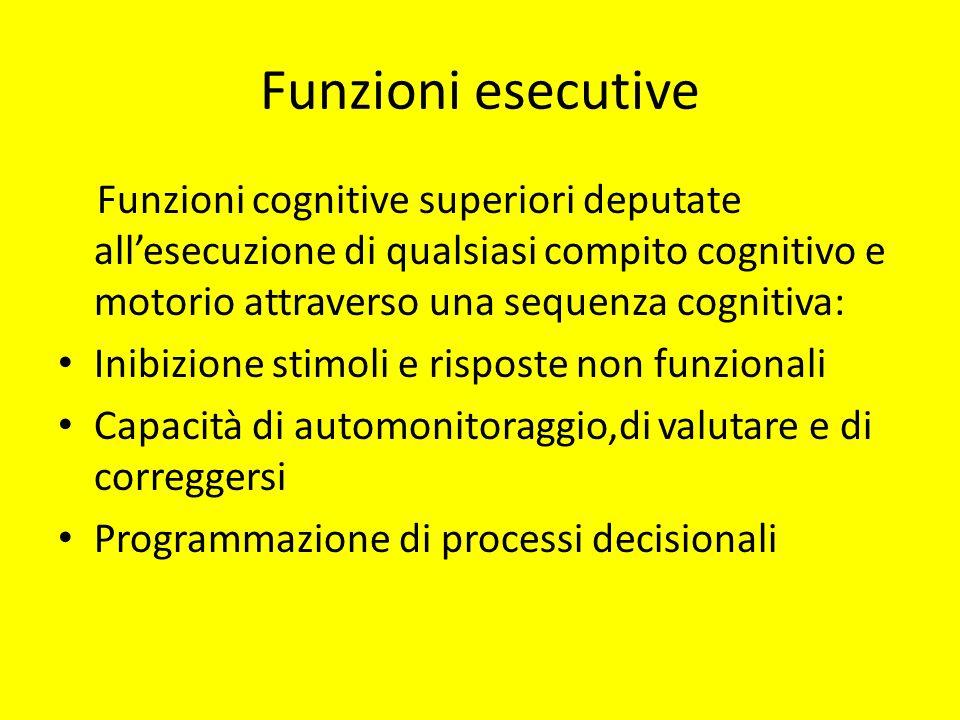 Funzioni esecutive Funzioni cognitive superiori deputate all'esecuzione di qualsiasi compito cognitivo e motorio attraverso una sequenza cognitiva:
