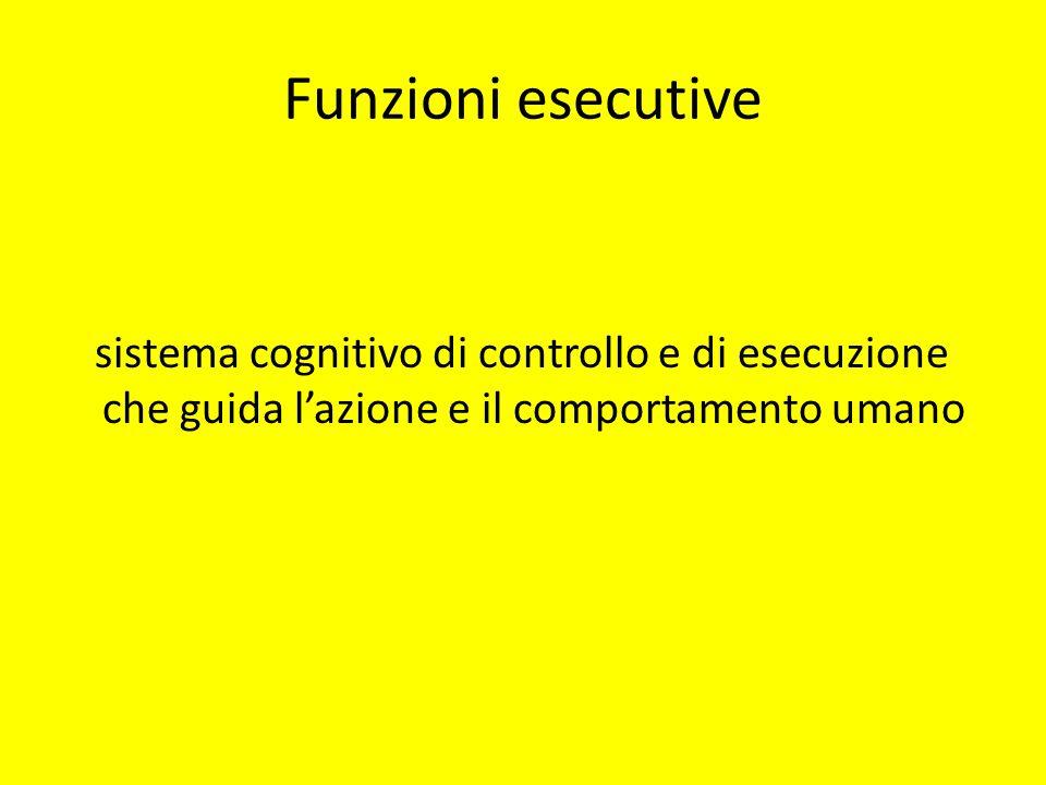 Funzioni esecutive sistema cognitivo di controllo e di esecuzione che guida l'azione e il comportamento umano.