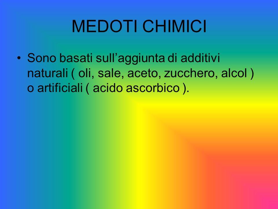 MEDOTI CHIMICI Sono basati sull'aggiunta di additivi naturali ( oli, sale, aceto, zucchero, alcol ) o artificiali ( acido ascorbico ).