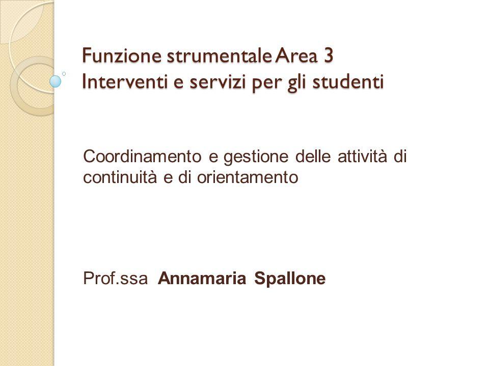 Funzione strumentale Area 3 Interventi e servizi per gli studenti