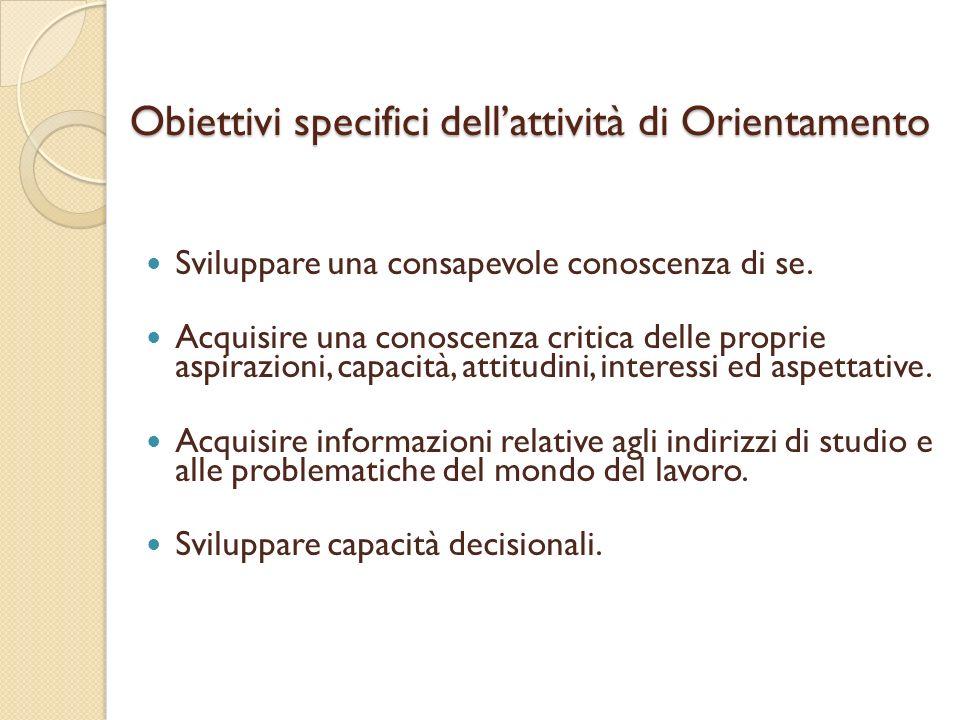 Obiettivi specifici dell'attività di Orientamento