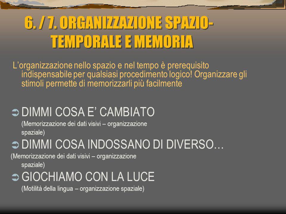 6. / 7. ORGANIZZAZIONE SPAZIO-TEMPORALE E MEMORIA