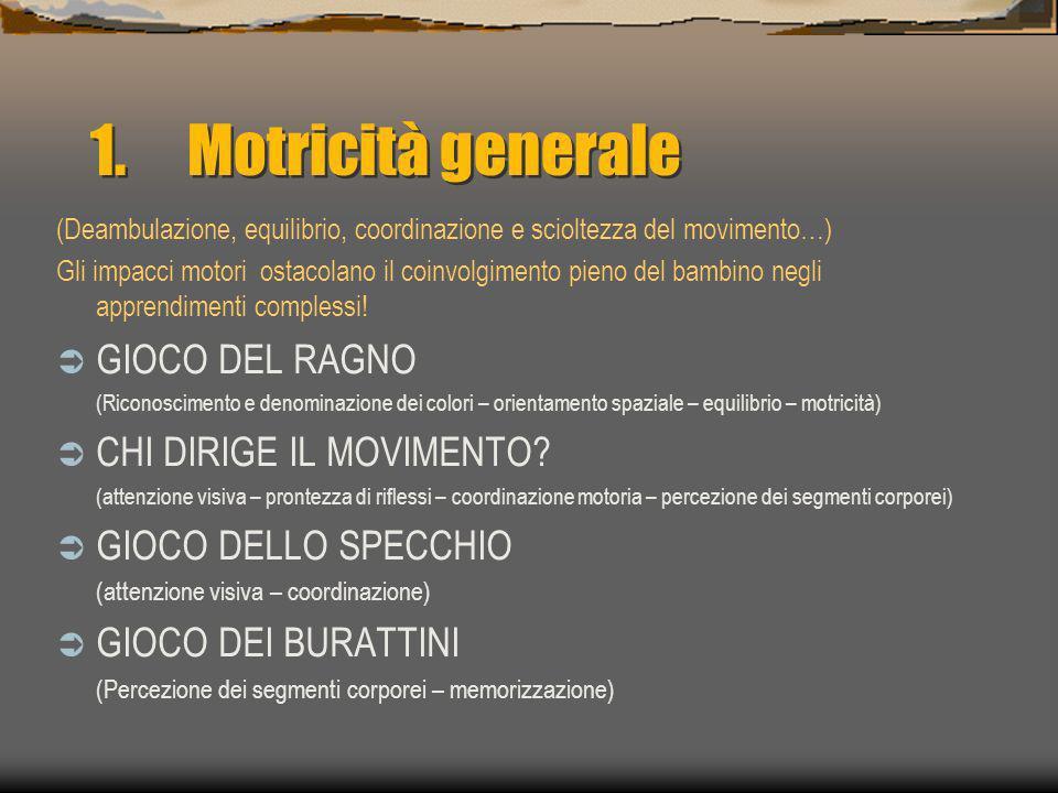 Motricità generale GIOCO DEL RAGNO CHI DIRIGE IL MOVIMENTO