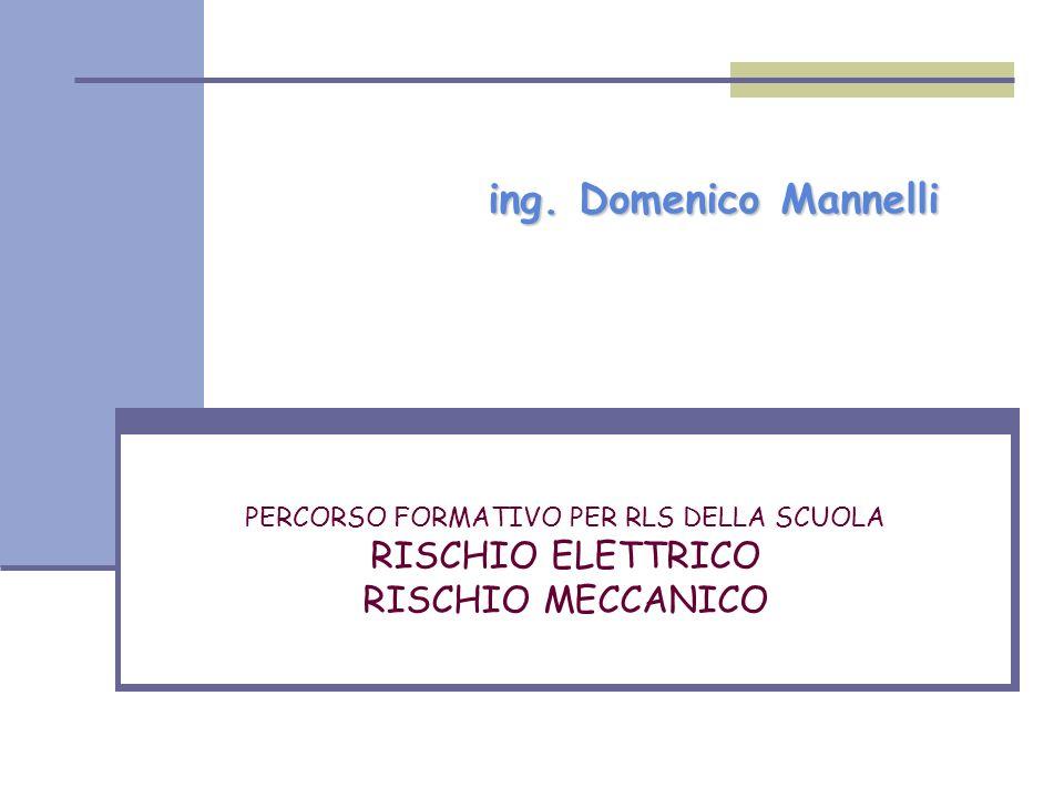 ing. Domenico Mannelli PERCORSO FORMATIVO PER RLS DELLA SCUOLA RISCHIO ELETTRICO RISCHIO MECCANICO