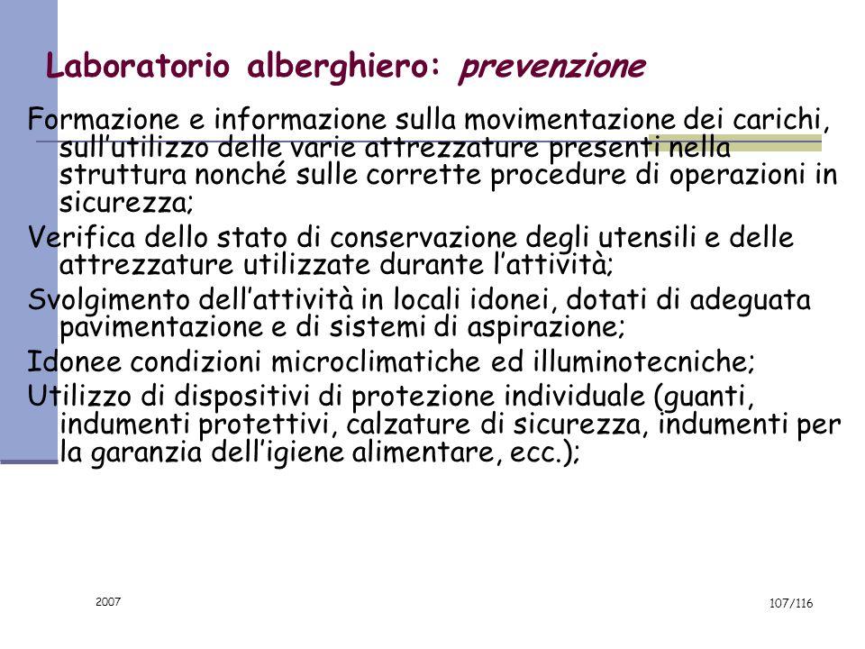 Laboratorio alberghiero: prevenzione