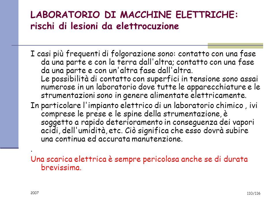 LABORATORIO DI MACCHINE ELETTRICHE: rischi di lesioni da elettrocuzione