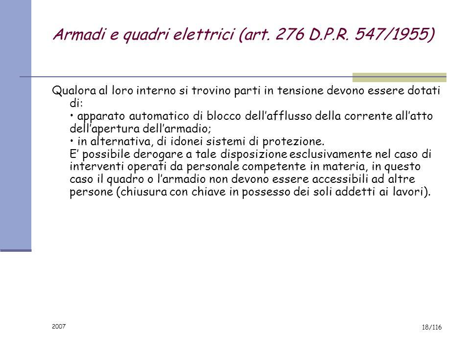 Armadi e quadri elettrici (art. 276 D.P.R. 547/1955)