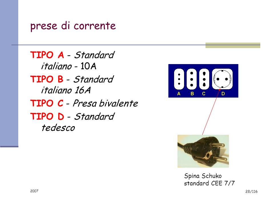 prese di corrente TIPO A - Standard italiano - 10A