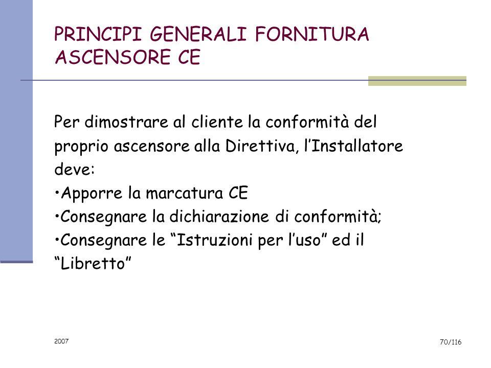 PRINCIPI GENERALI FORNITURA ASCENSORE CE