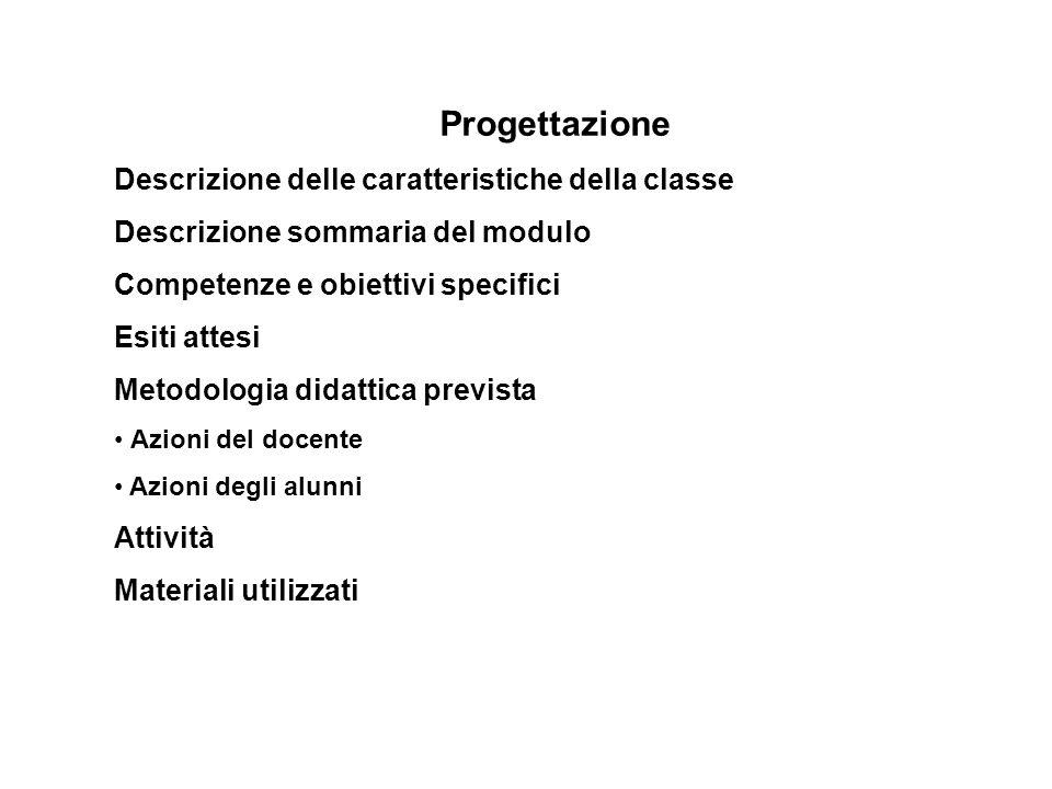 Progettazione Descrizione delle caratteristiche della classe