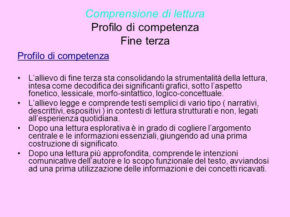 Comprensione di lettura Profilo di competenza Fine terza