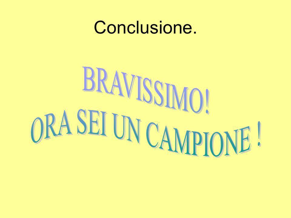 Conclusione. BRAVISSIMO! ORA SEI UN CAMPIONE !
