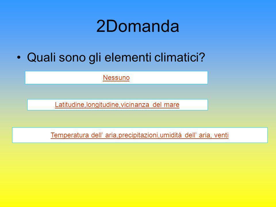 2Domanda Quali sono gli elementi climatici Nessuno