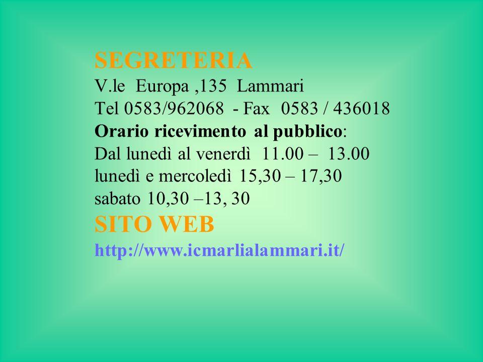 SEGRETERIA SITO WEB V.le Europa ,135 Lammari