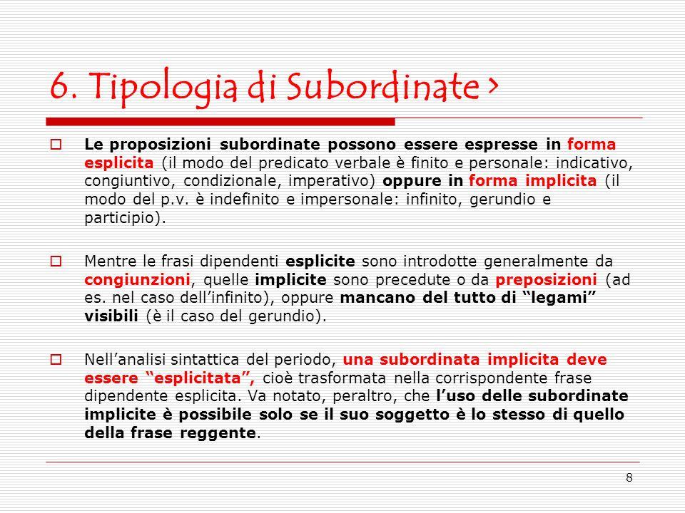 6. Tipologia di Subordinate >