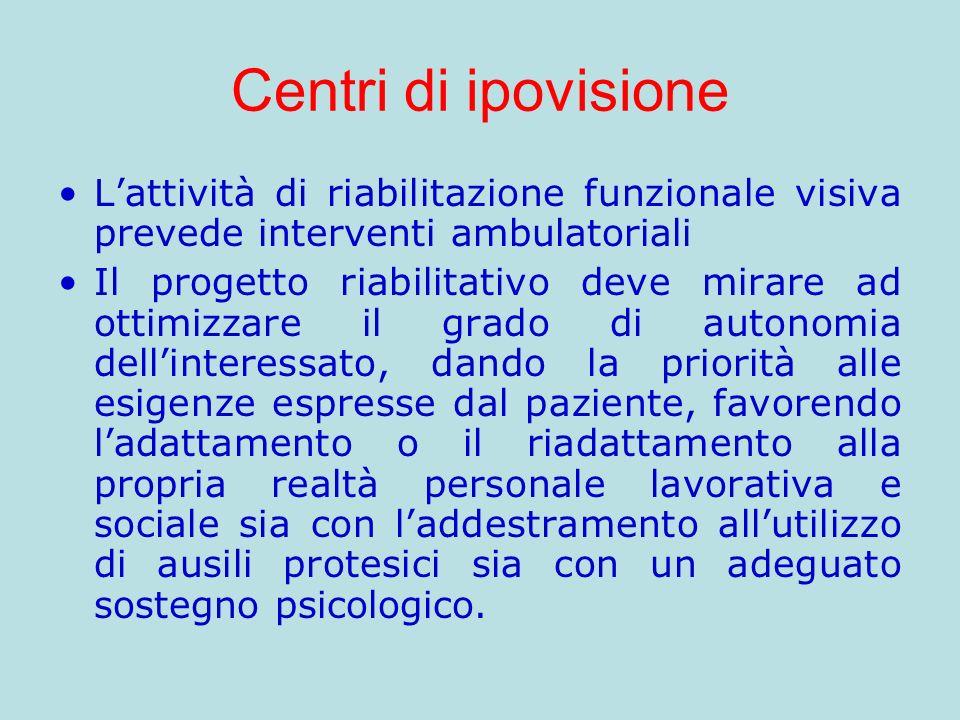 Centri di ipovisione L'attività di riabilitazione funzionale visiva prevede interventi ambulatoriali.
