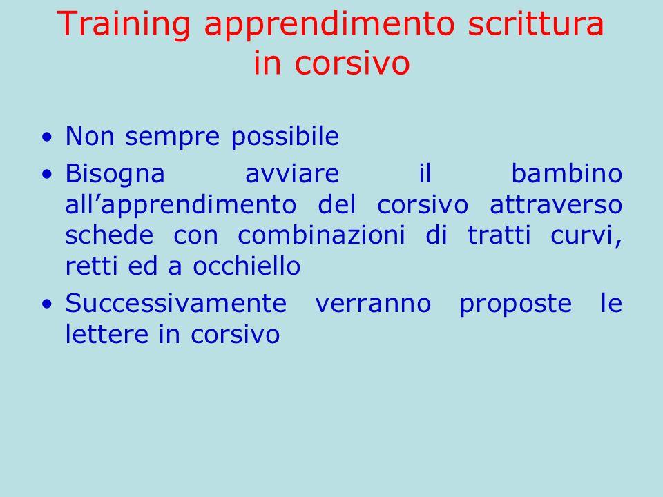 Training apprendimento scrittura in corsivo