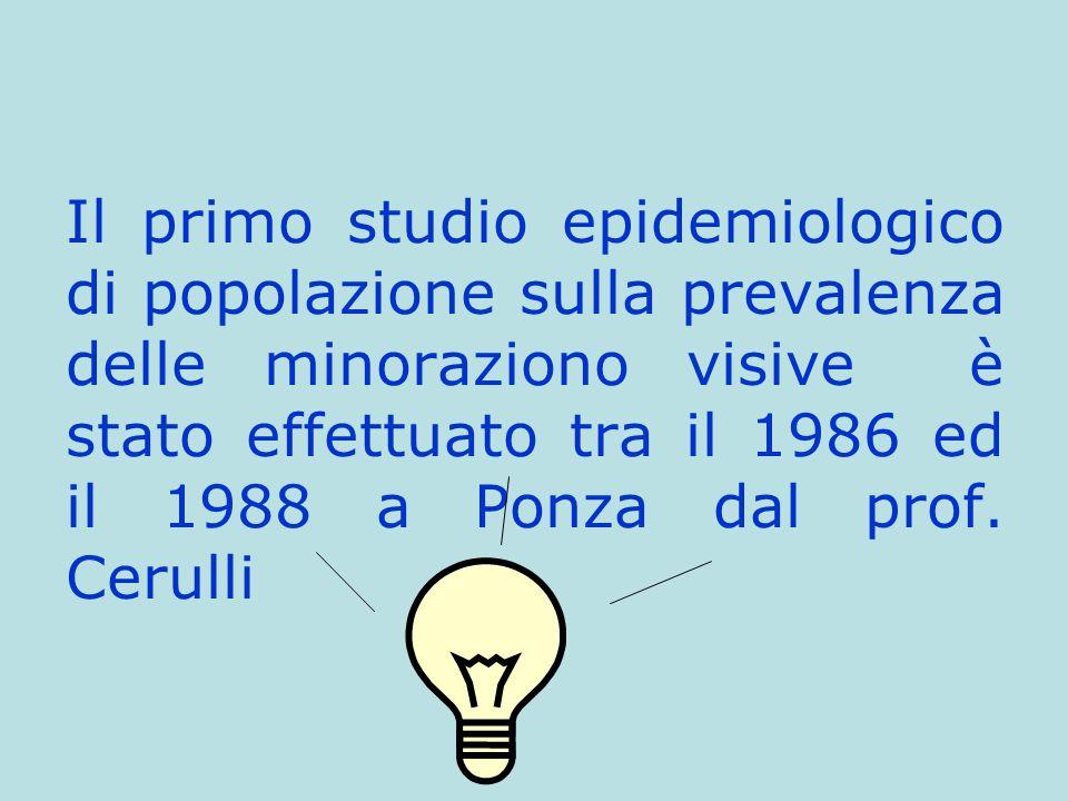 Il primo studio epidemiologico di popolazione sulla prevalenza delle minoraziono visive è stato effettuato tra il 1986 ed il 1988 a Ponza dal prof.