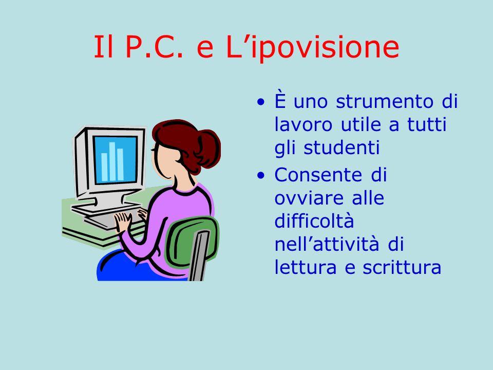 Il P.C. e L'ipovisione È uno strumento di lavoro utile a tutti gli studenti.