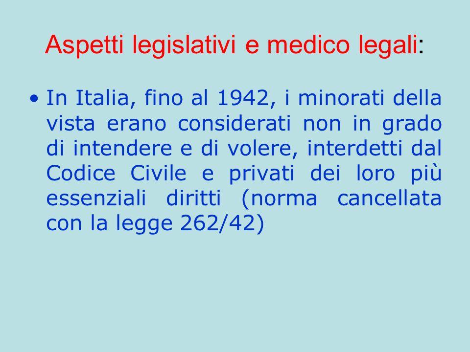 Aspetti legislativi e medico legali: