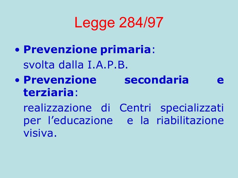 Legge 284/97 Prevenzione primaria: svolta dalla I.A.P.B.