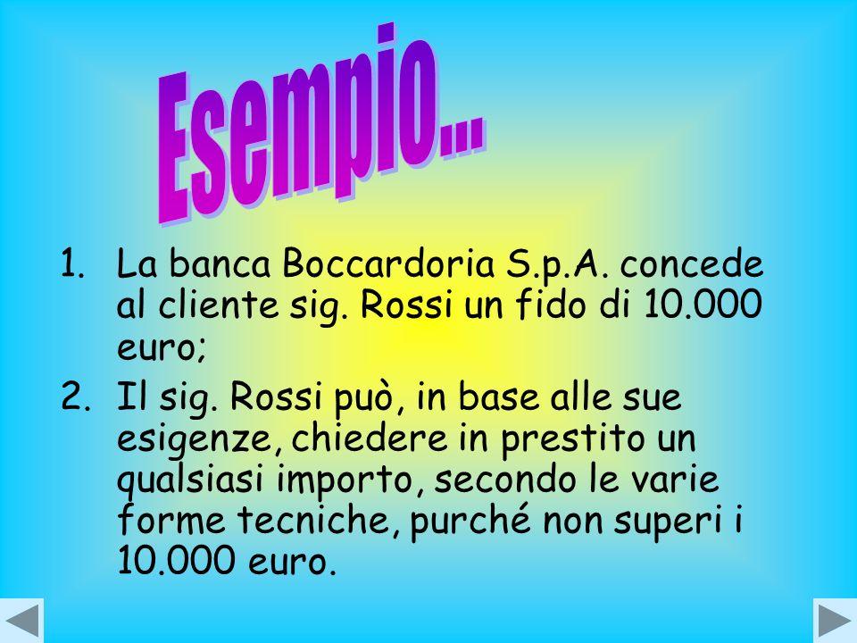Esempio... La banca Boccardoria S.p.A. concede al cliente sig. Rossi un fido di 10.000 euro;