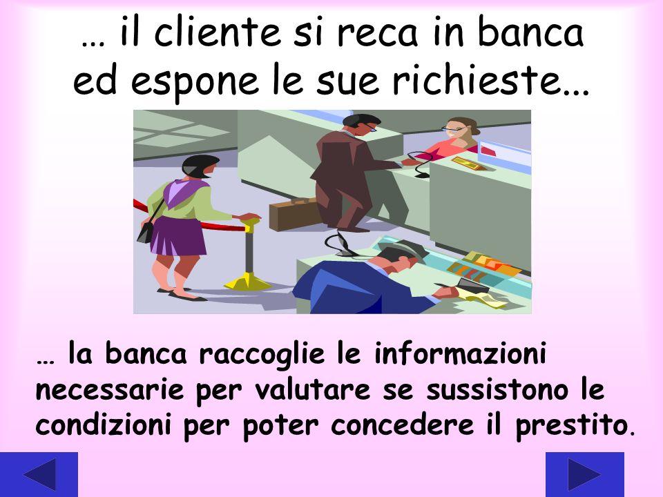 … il cliente si reca in banca ed espone le sue richieste...