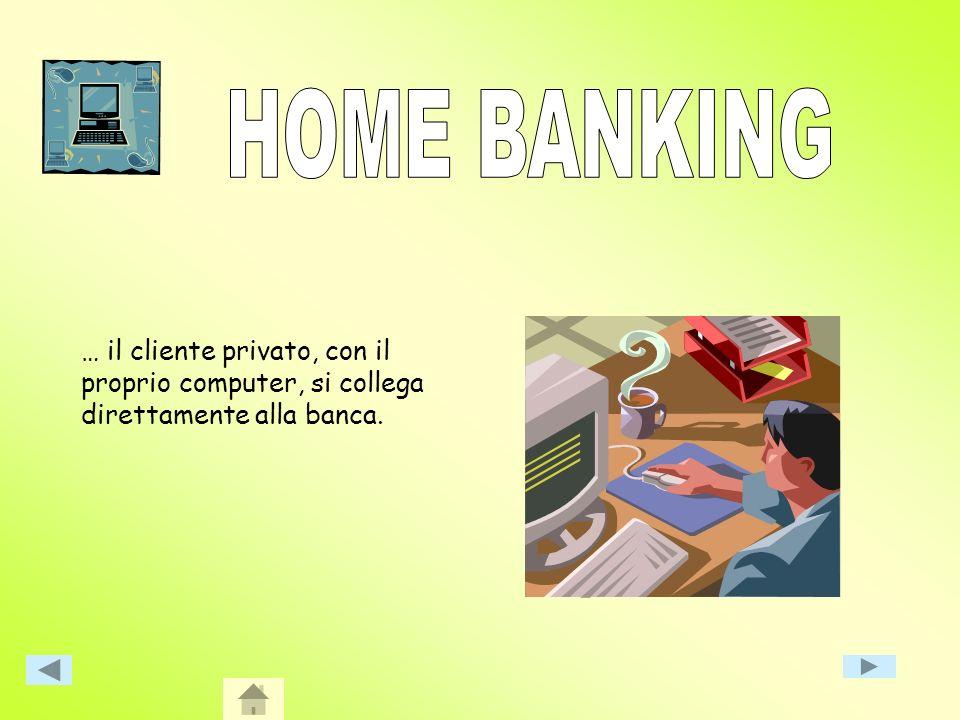 HOME BANKING … il cliente privato, con il proprio computer, si collega direttamente alla banca.