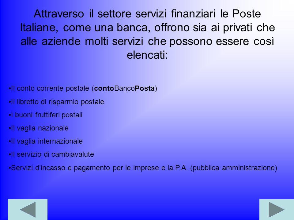 Attraverso il settore servizi finanziari le Poste Italiane, come una banca, offrono sia ai privati che alle aziende molti servizi che possono essere così elencati: