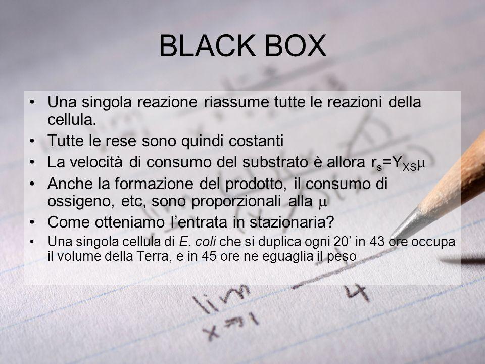 BLACK BOX Una singola reazione riassume tutte le reazioni della cellula. Tutte le rese sono quindi costanti.