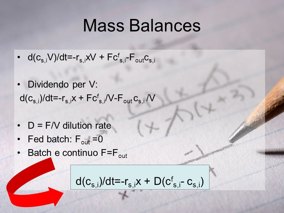d(cs,i)/dt=-rs,ix + D(cfs,i- cs,i)