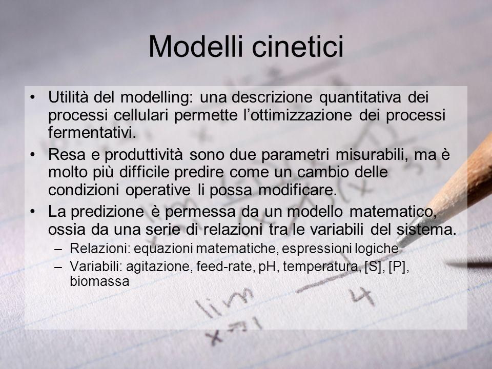 Modelli cinetici Utilità del modelling: una descrizione quantitativa dei processi cellulari permette l'ottimizzazione dei processi fermentativi.