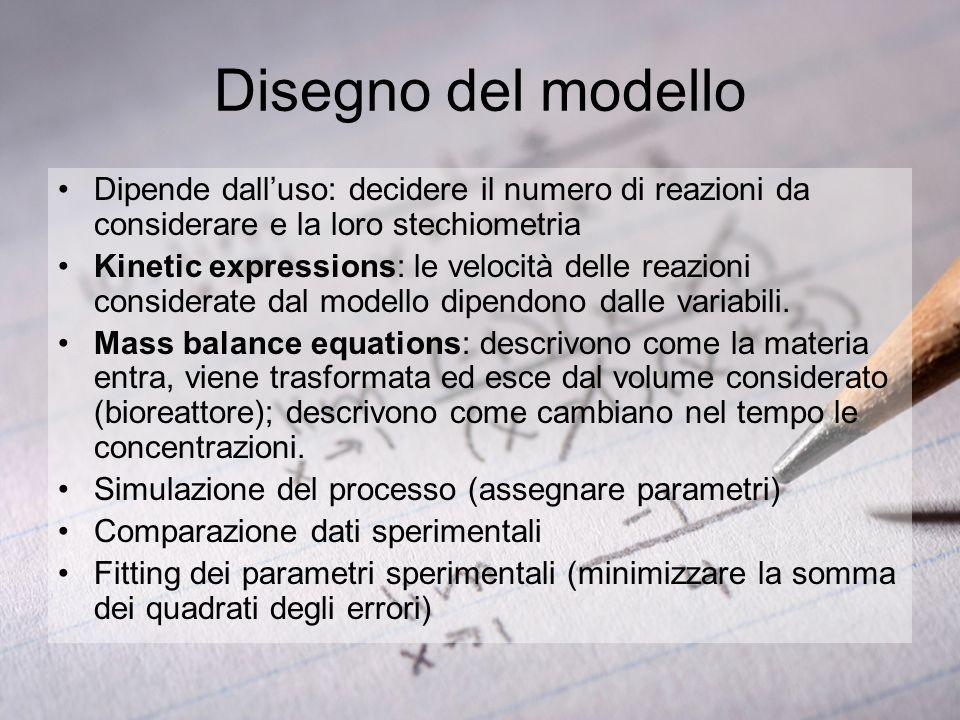 Disegno del modello Dipende dall'uso: decidere il numero di reazioni da considerare e la loro stechiometria.