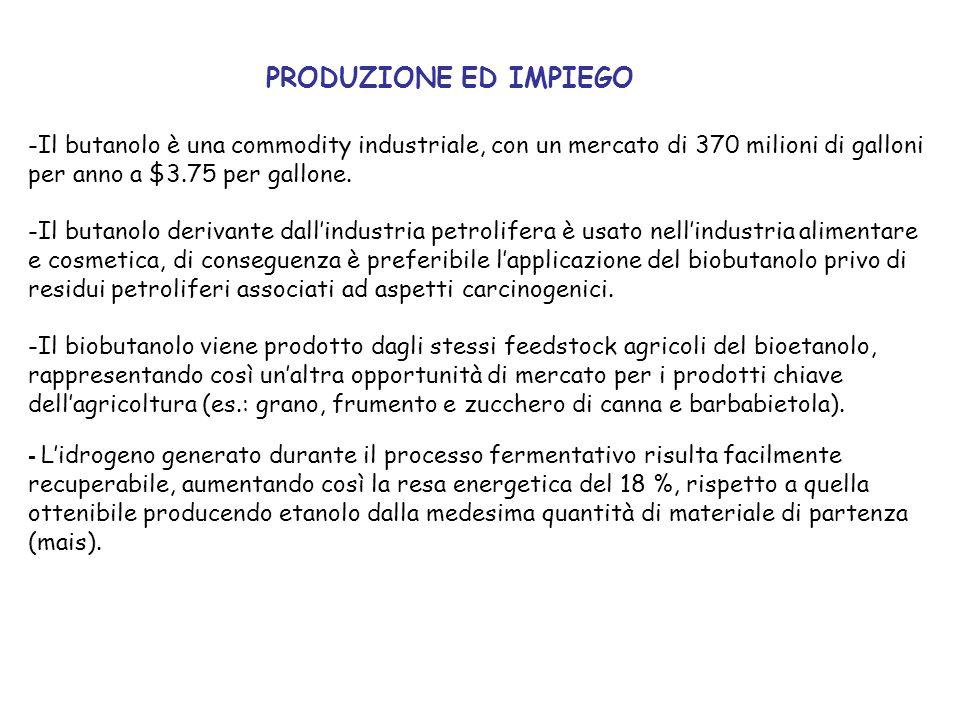 PRODUZIONE ED IMPIEGOIl butanolo è una commodity industriale, con un mercato di 370 milioni di galloni per anno a $3.75 per gallone.