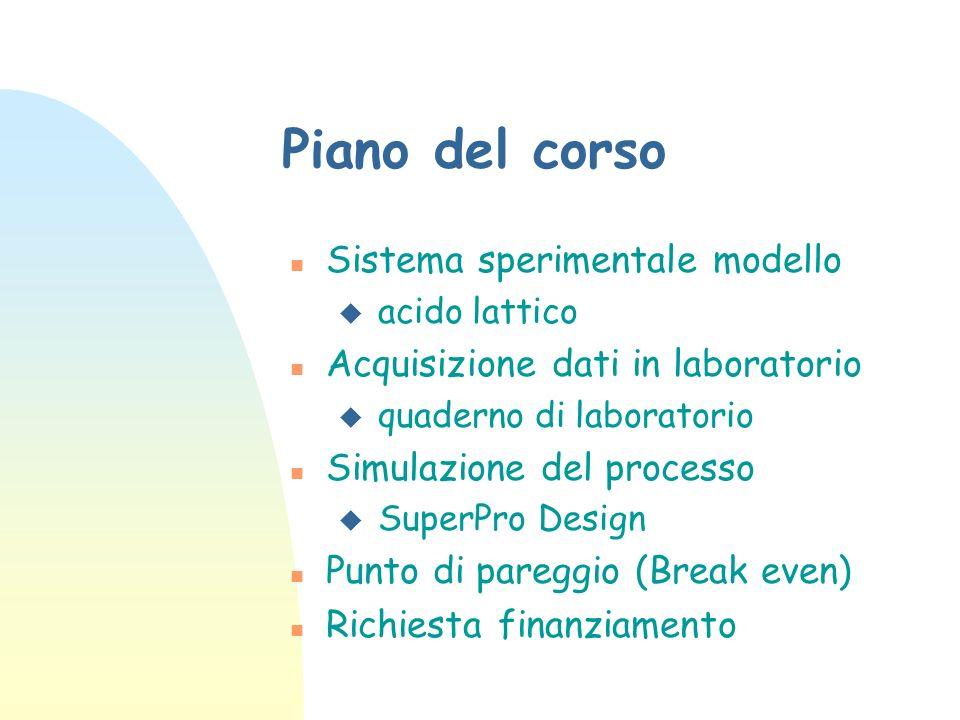 Piano del corso Sistema sperimentale modello