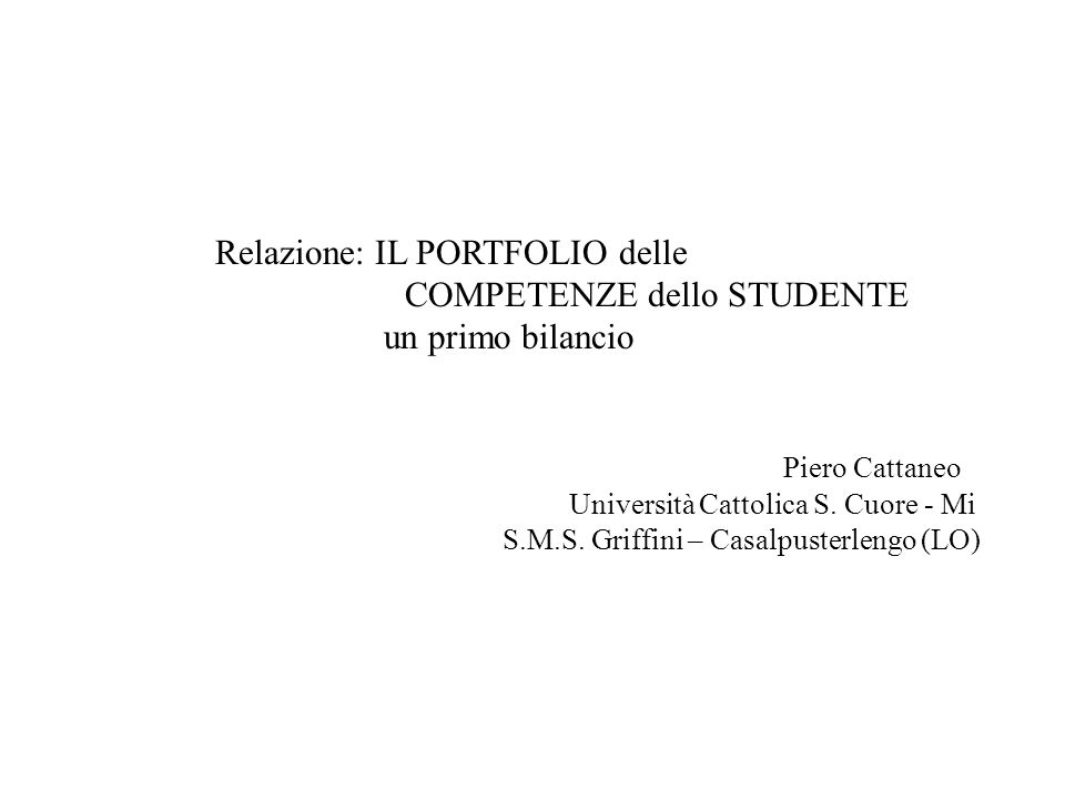 COMPETENZE dello STUDENTE