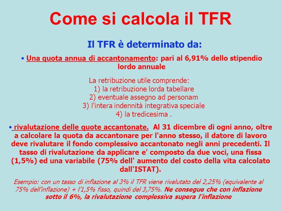 Il TFR è determinato da: