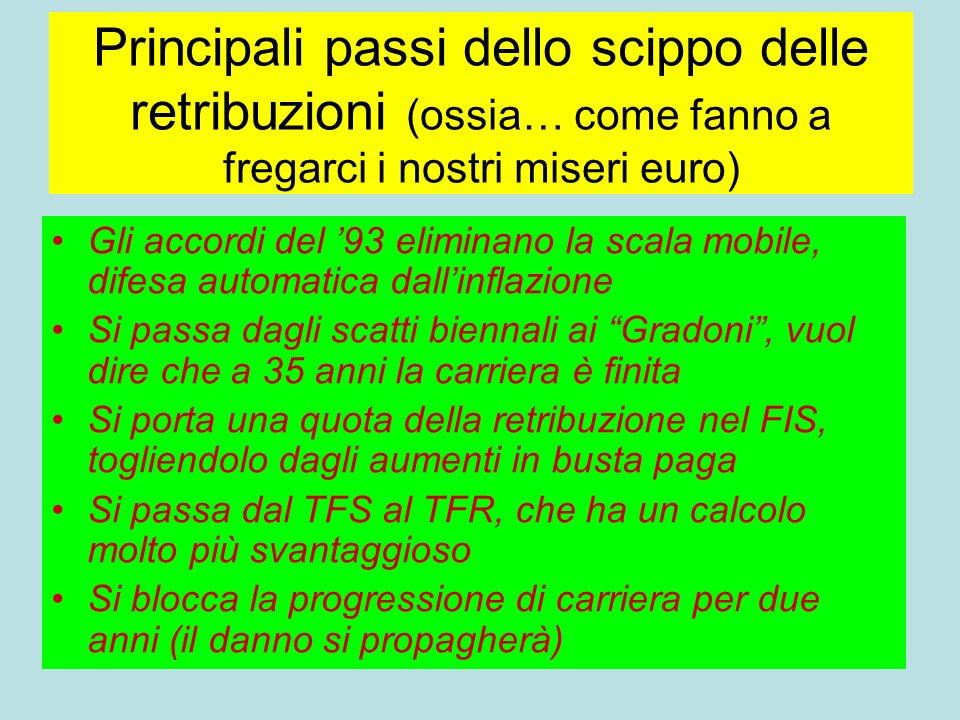 Principali passi dello scippo delle retribuzioni (ossia… come fanno a fregarci i nostri miseri euro)