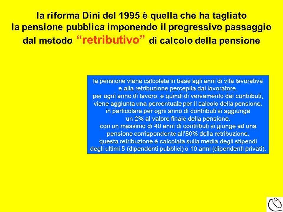 la riforma Dini del 1995 è quella che ha tagliato