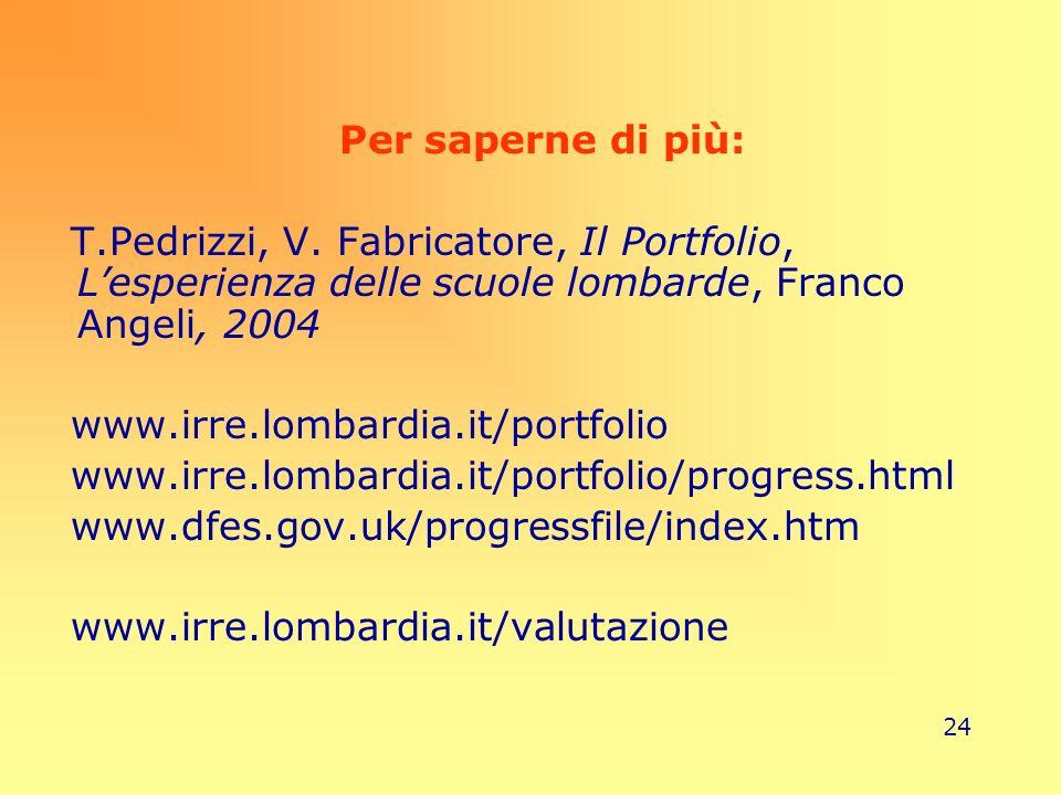 Per saperne di più:T.Pedrizzi, V. Fabricatore, Il Portfolio, L'esperienza delle scuole lombarde, Franco Angeli, 2004.