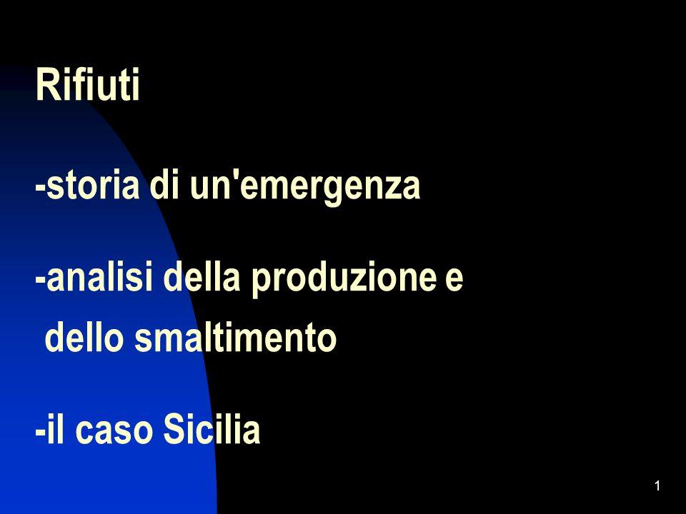 Rifiuti -storia di un emergenza -analisi della produzione e dello smaltimento -il caso Sicilia