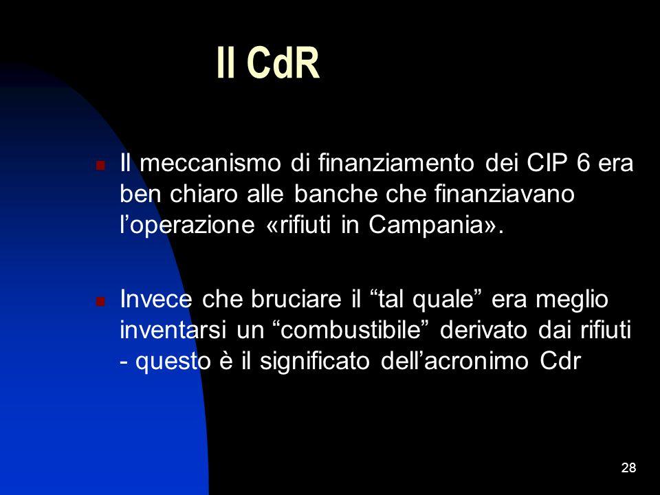 Il CdR Il meccanismo di finanziamento dei CIP 6 era ben chiaro alle banche che finanziavano l'operazione «rifiuti in Campania».
